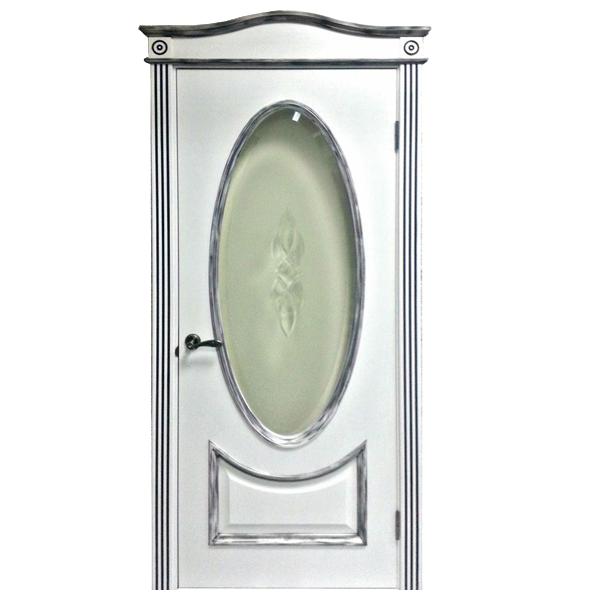 """Межкомнатная дверь Woodok ПО """"Бристол"""" (белый ясень + серебро)"""