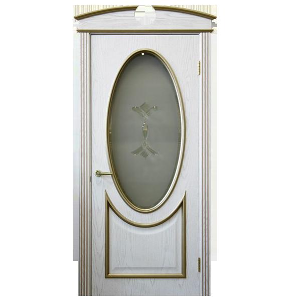 """Межкомнатная дверь Woodok ПО """"Бристол"""" (белый ясень + позолота)"""