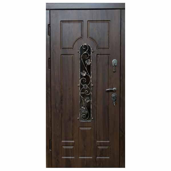 """Входная дверь VD """"Арка с ковкой"""" (дуб бронзовый)"""